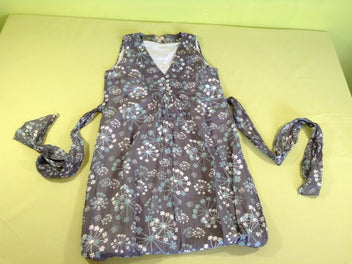 Robe grossesse s.m gris fleurs blanches/bleues