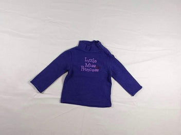 T-shirt col montant mauve « Little Miss Princess » strass