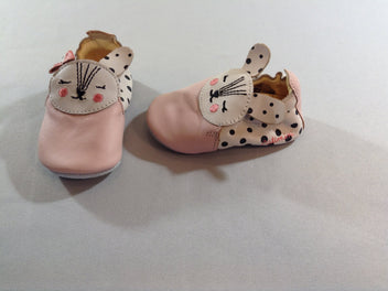 Chaussons cuir rose lapin