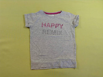 T-shirt m.c gris chiné Happy Remix, manque quelques strass