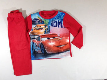 Pyjama velours 2pcs Cars rouge bouloché
