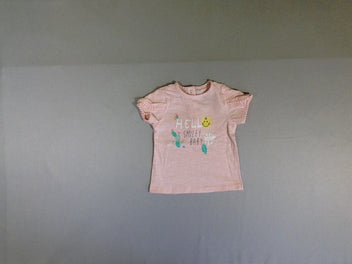 T-shirt m.c rose pâle Hello s.miley baby pompoms