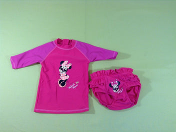Culotte maillot + t-shirt anti uv rose Minnie