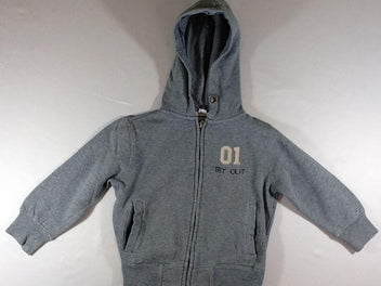 Sweat zippé à capuche gris chiné, BBL