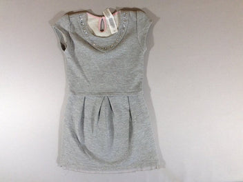 Robe sweat m.c gris chiné pailletée strass
