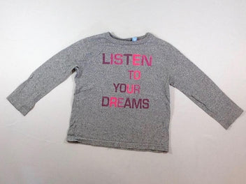 T-shirt m.l gris chiné « Listen to your dreams »