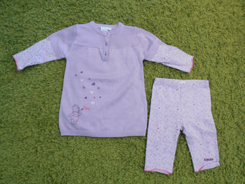 Robe-pull parme Winnie, effet superposé t-shirt + legging