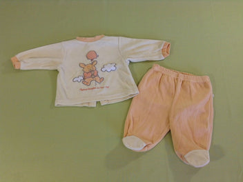 Pyjama 2p velours jaune/orange lapin