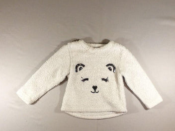 Pull peluche blanc ours sequins