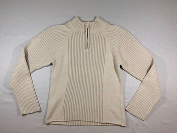 Pull beige col camionneur