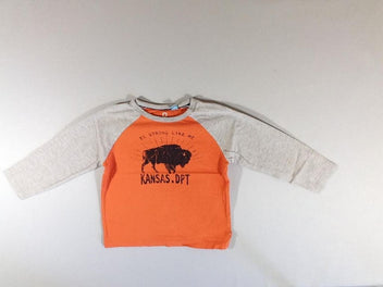 T-shirt m.l orange et gris chiné bison