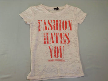T-shirt m.c rose pâle ajouré Fashion hates you