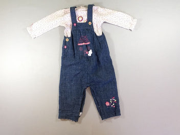 Salopette denim foncé maison + Body m.l rose pois