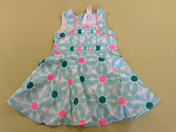 Robe s.m blanche motifs turquoise rose