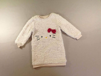 Robe pull m.l duveteuse blanche Hello Kitty