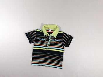Polo jersey noir multicolore