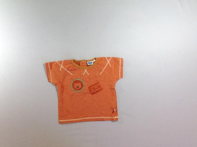 T-shirt m.c orange chiné jungle, moins cher chez Petit Kiwi