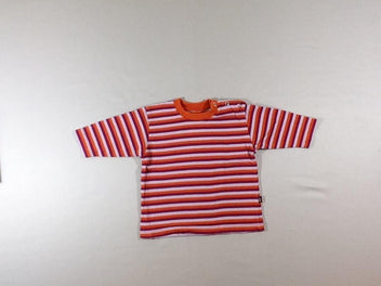 T-shirt m.l rayé orange/mauve/parme
