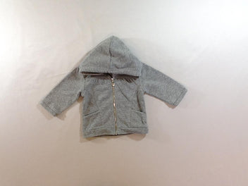 Sweat zippé à capuche gris chiné irisé