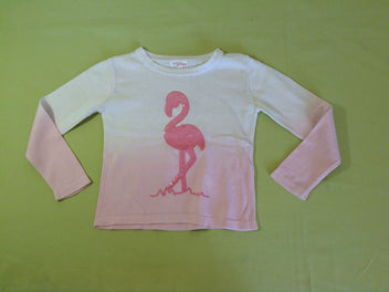 Pull dégradé écru à rose, flamant rose sequins
