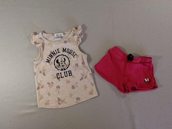 T-shirt écru/rose flammé Minnie + short jersey rose vif