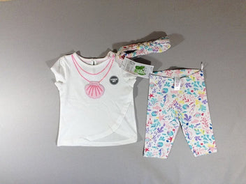 Neuf, T-shirt m.c blanc collier coquillage + Legging + bandeau