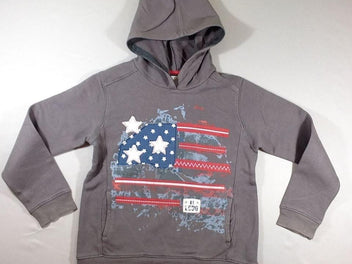 Sweat zippé à capuche gris drapeau USA