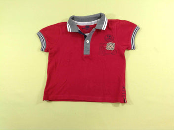 Polo m.c rouge/gris chiné