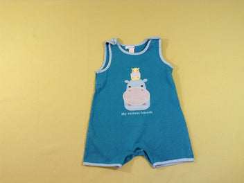 Combishort jersey turquoise hippos