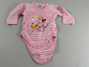 Body croisé m.l rose rayé blanc Minnie