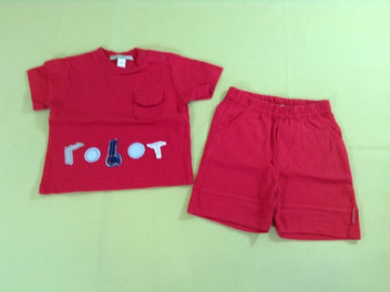 T-shirt m.c rouge Robot + short jersey rouge