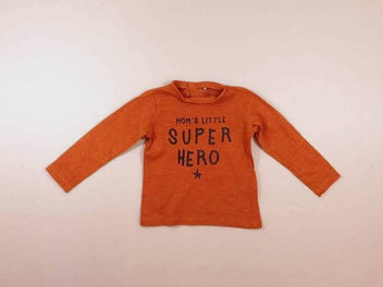 T-shirt m.l cognac flammé « Mom's little Super Hero »