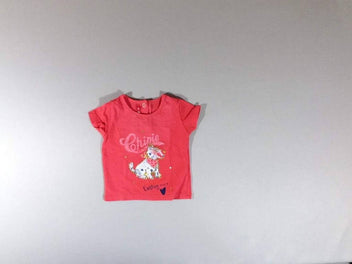 T-shirt m.c rose orange chien paillettes