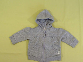 Sweat zippé à capuche gris chiné pois pailletés
