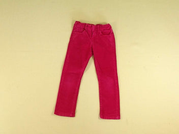 Pantalon slim velours ras rose vif