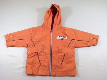 Veste orange, doublure gilet molleton bleu marine amovible