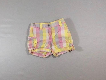 Short carreaux jaune/rose/gris
