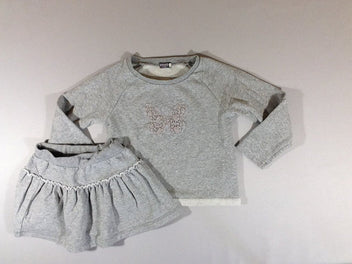 Ensemble Sweat gris chiné pailletté papillon + jupe molleton gris chiné pailletté
