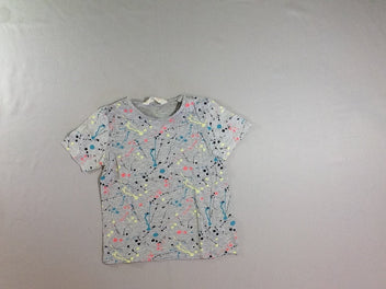 T-shirt m.c gris chiné taches multicolores