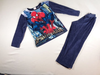 Pyjama 2p velours bleu marine Spiderman