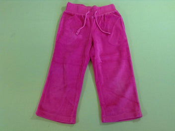 Pantalon training velours rose vif