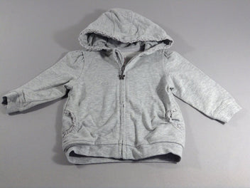 Sweat m.l zippé gris chiné à capuche