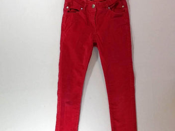 Pantalon velours ras rouge