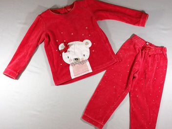 Pyjama 2p velours rouge ours