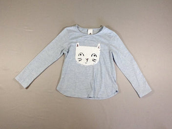 T-shirt m.l bleu pâle chiné chat sequins