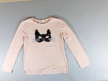 T-shirt m.l rose masque chat sequins noirs