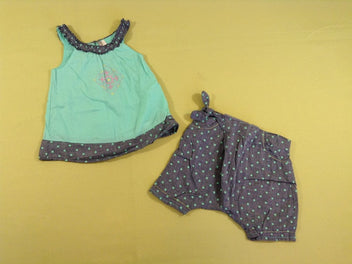 Top vert/denim pois + short sarouel denim pois