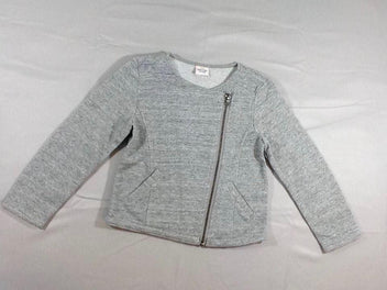 Sweat zippé gris chiné fil argenté
