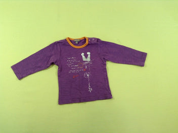 T-shirt m.l mauve/orange flammé
