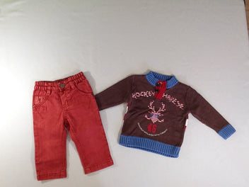 Pull brun Hockey + jean rouge